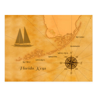 Vintage Nautical Florida Keys Map Postcard
