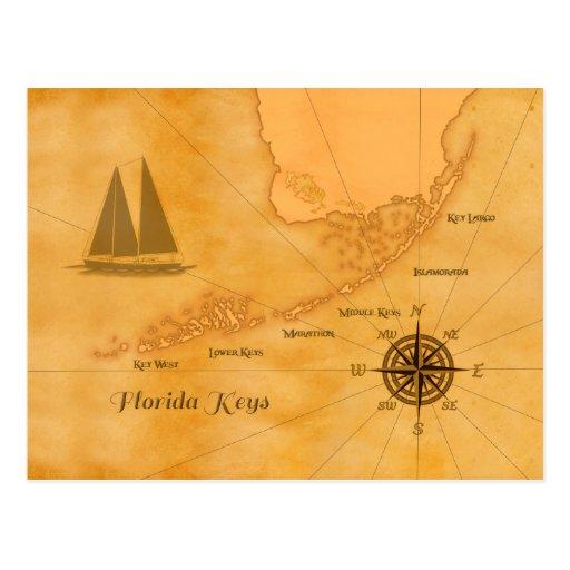 Vintage Nautical Florida Keys Map Post Card