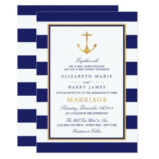 Vintage Nautical Gold Anchor Wedding Card