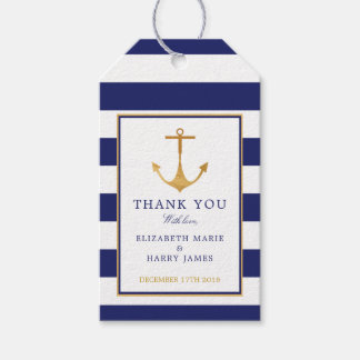 Vintage Nautical Gold Anchor Wedding Gift Tags