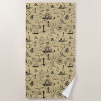 Vintage Nautical Pattern Old Map Background Beach Towel