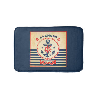 Vintage Nautical Poster Bath Mat