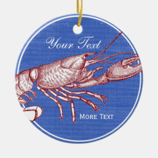 Vintage Nautical Red Lobster Custom Beach House Christmas Ornament
