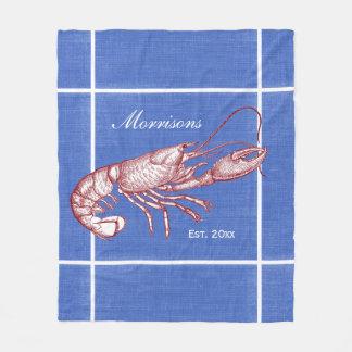 Vintage Nautical Red Lobster Custom Beach House Fleece Blanket