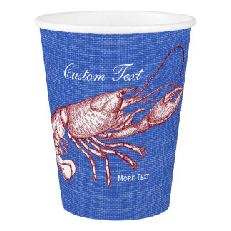 Vintage Nautical Red Lobster Custom Beach House Paper Cup