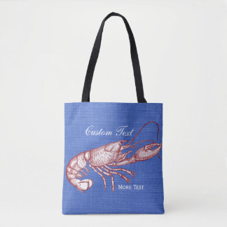 Vintage Nautical Red Lobster Custom Beach House Tote Bag