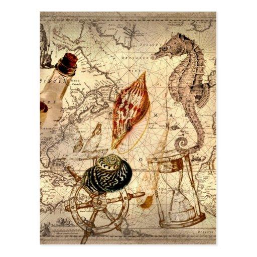 Vintage nautical seashells seahorse beach post cards