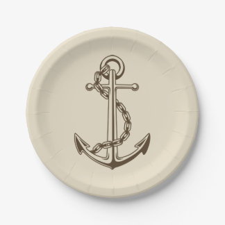 Vintage Nautical Ship Anchor Tan Wedding Party 7 Inch Paper Plate