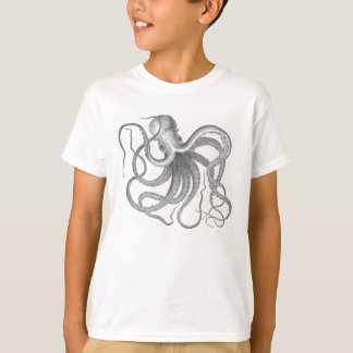 Vintage nautical steampunk octopus print T-Shirt