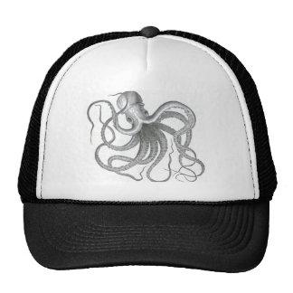 Vintage nautical steampunk octopus summer print mesh hats