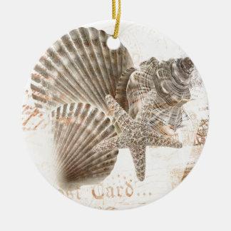 Vintage nautilus starfish seashells christmas ornament