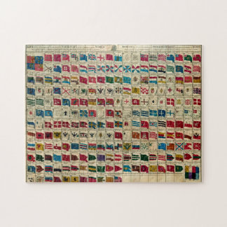 Vintage Naval Flags of The World Illustration Jigsaw Puzzle