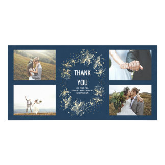 Vintage Navy and Gold Floral Wedding Thank You Photo Cards