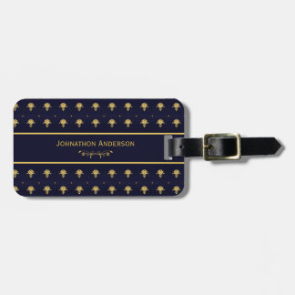 Vintage Navy Blue And Gold Book With Name Luggage Tag