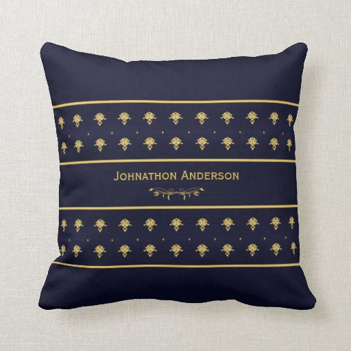 Throw Pillows With Navy Blue : Vintage Navy Blue And Gold Book With Name Zazzle