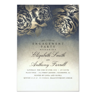Vintage Navy Blue and Gold Floral Engagement Party Card