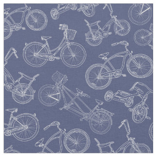 Vintage Navy Blue Bicycle Pattern Fabric
