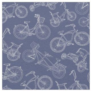 Vintage Navy Blue Bicycle Pattern Fabric