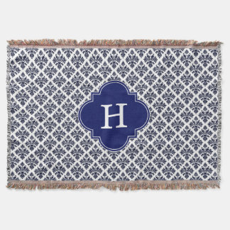 Vintage Navy Blue White Damask #3 Navy Monogram Throw Blanket