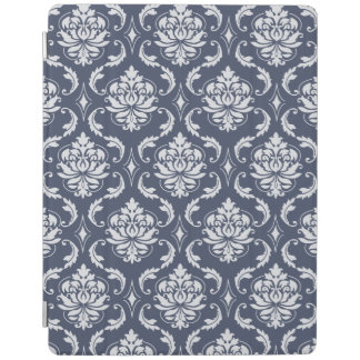 Vintage Navy Blue White Damask Pattern iPad Cover