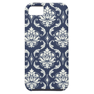 Vintage Navy Blue White Damask Pattern iPhone 5 Covers