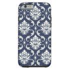 Vintage Navy Blue White Damask Pattern Tough iPhone 6 Case