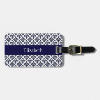 Vintage Navy Blue Wht Damask #3 Navy Name Monogram Bag Tag