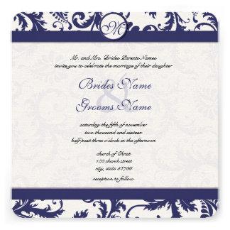 Vintage Navy Damask Swirls Wedding Invitation