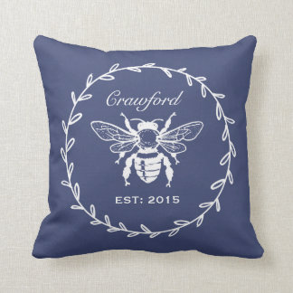 Vintage Navy Honey Bee Laurel Honeycomb Monogram Throw Pillow