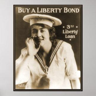 Vintage Navy Liberty Bond WW1 Poster
