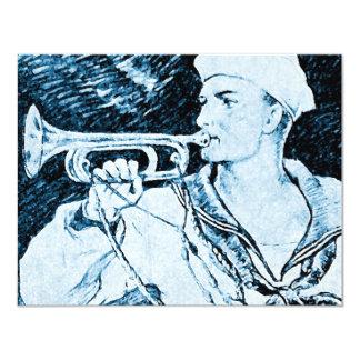 Vintage Navy Soldier Trumpet Instrument Invite