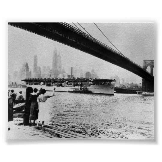 Vintage Navy USS Langley New York NY Poster