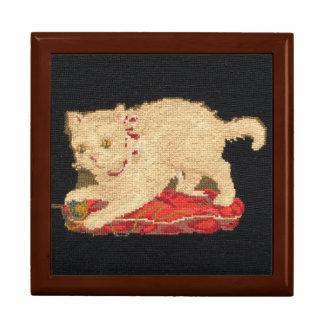 Vintage Needlepoint Kitty Cat Gift Box