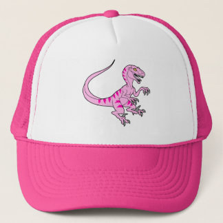 Vintage neon velociraptor pink trucker hat