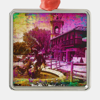 Vintage Neptune Fountain Colorful Grunge Christmas Ornament