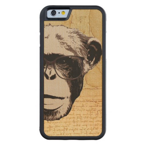 Vintage Nerdy Chimp in Glasses iPhone 6 Case Carved® Maple iPhone 6 Bumper