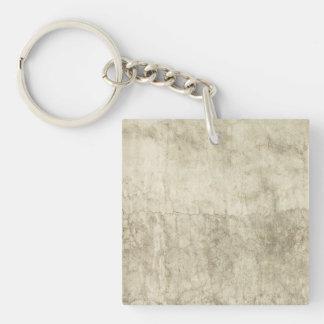 Vintage Neutral Plaster Paint Background Grunge Single-Sided Square Acrylic Key Ring