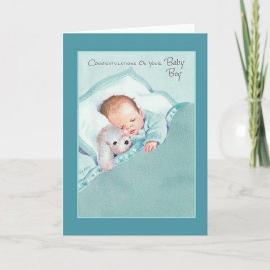 vintage new baby boy greeting card zazzle co uk