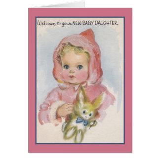 Vintage New Baby Daughter Greeting Card