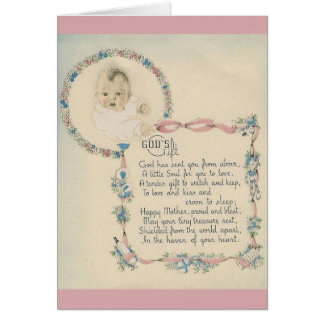 Vintage New Baby God's Gift Greeting Card