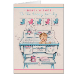 Vintage New Baby Greeting Card