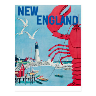 Vintage New England Lobster Lighthouse Travel Postcard