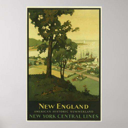 Vintage New England Railroad Travel Poster