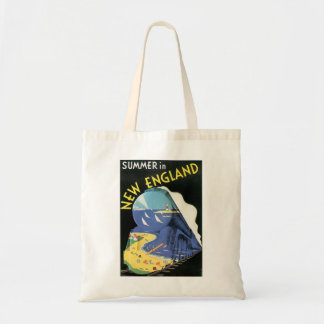 Vintage New England Travel Ad Tote Bag