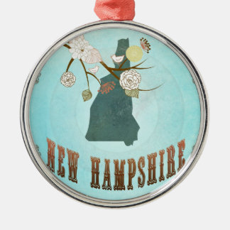 Vintage New Hampshire State Map – Aqua Blue Round Metal Christmas Ornament