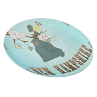 Vintage New Hampshire State Map – Aqua Blue Dinner Plate