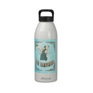 Vintage New Hampshire State Map – Aqua Blue Drinking Bottles