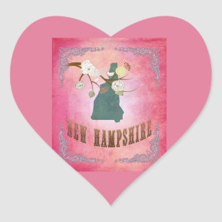Vintage New Hampshire State Map- Candy Pink Heart Sticker