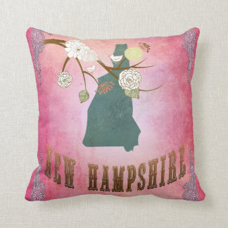 Vintage New Hampshire State Map- Candy Pink Throw Cushion