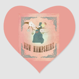 Vintage New Hampshire State Map- Pastel Peach Heart Sticker